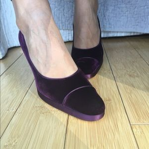 CHANEL Burgundy/Purple Velvet Heels Gold Soles